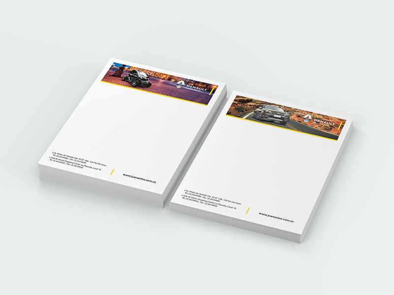 Diseño de hoja membrete para Juanautos Renault