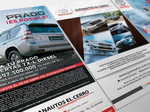 Diseño de avisos publicitarios para Juanautos Toyota