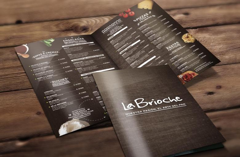 Menú Restaurante La Brioche - Trabajos Realizados Macondo