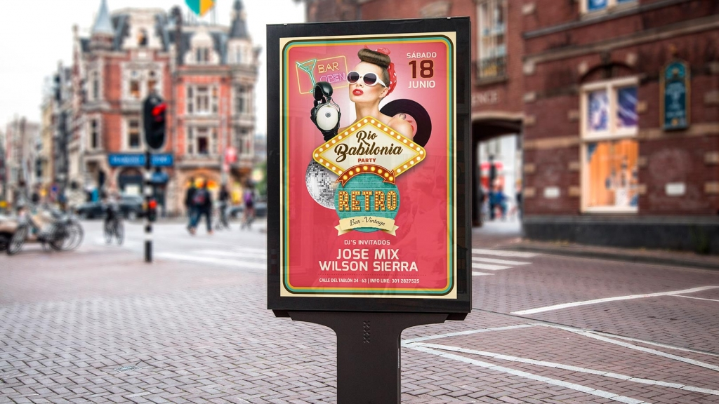 Diseño Afiche Promocional Retro Bar Vintage - Trabajos Realizados Macondo